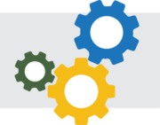 Dark Green Blue And Yellow Gears On Light Gray Rectangle Background